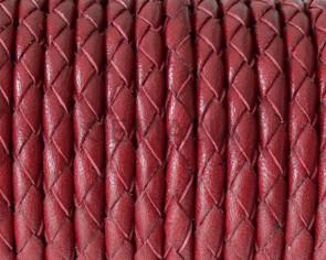 Cordon de Cuero trenzado redondo 4mm. Burdeos. Calidad superior.