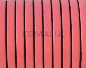 Cordon de cuero Plano 5x1,5mm. Rosa chicle-cantos negros. Calidad superior.