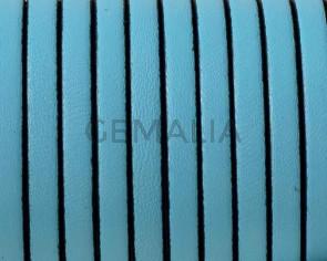 Cordon de cuero Plano 5x1,5mm. Azul celeste-cantos negros. Calidad superior.
