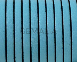 Cordon de cuero Plano 5x1,5mm. Azul celeste-cantos negros. Calidad superior. Precio Especial