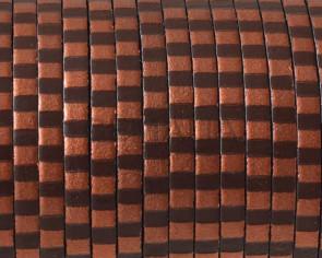 Cordon de cuero 3x1,5mm. Rayas cobre marron metalizado. Calidad superior.
