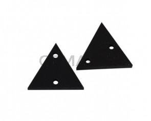 Triangulo de cuero con dos agujeros 17x15mm. Negro. Int.1,8mm.Calidad superior.