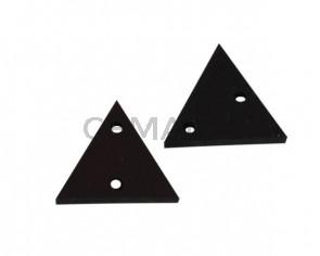 Triangulo de cuero con dos agujeros 17x15mm. Marron oscuro. Int.1,8mm.Calidad superior.