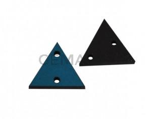 Triangulo de cuero con dos agujeros 17x15mm. Azul turquesa. Int.1,8mm.Calidad superior.