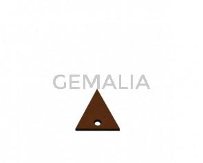 Colgante triangulo de Cuero 20x19mm. Marron claro.Int.2mm.Calidad Sup.