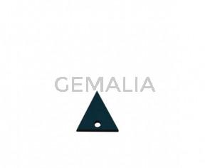 Colgante triangulo de Cuero 20x19mm.Azul turquesa.Int.2mm.Calidad Sup.