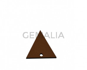 Colgante triangulo de Cuero 30x29mm. Marron claro.Int.2mm.Calidad Sup.