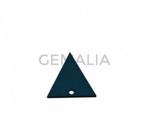 Colgante triangulo de Cuero 30x29mm.Azul turquesa.Int.2mm.Calidad Sup.