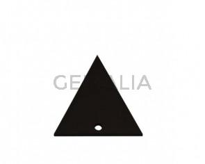Colgante triangulo de Cuero 35x34mm.Marron oscuro.Int.2mm.Calidad Sup.