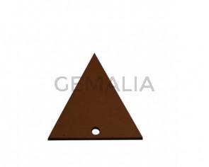 Colgante triangulo de Cuero 35x34mm.Marron claro.Int.2mm.Calidad Sup.