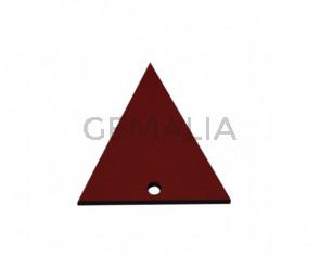 Colgante triangulo de Cuero 35x34mm. Rojo. Int.2mm. Calidad Sup.