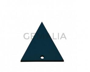 Colgante triangulo de Cuero 35x34mm.Azul turquesa.Int.2mm.Calidad Sup.
