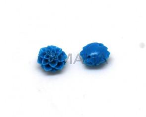 Coral sintetico. Flor.10mm.Azul turquesa.