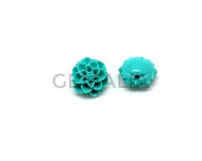 Coral sintetico. Flor.10mm.Verde turquesa.
