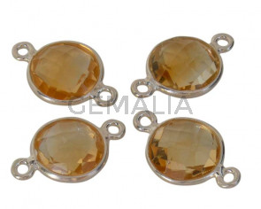 Citrino/Plata 925. Conector. Moneda facetada. 10-11mm.Plateado.Int.1mm