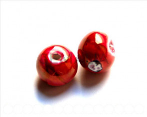 Ceramica. Bola 16mm. rojo cereza. Int.3,5-4mm