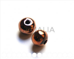 Ceramica. Bola 12mm. marron chocolate metalizado. Int.3mm aprox.