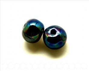 Ceramica. Bola 16mm. azul oscuro metalizado. Int.4mm aprox.