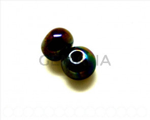 Ceramica. Bola 12mm. marron chocolate irisado. Int.3mm aprox.