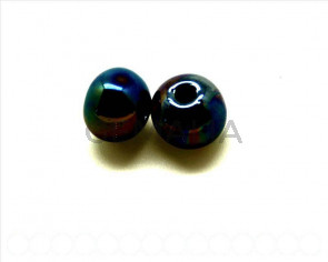 Ceramica. Bola 12mm. negro metalizado. Int.3mm aprox.
