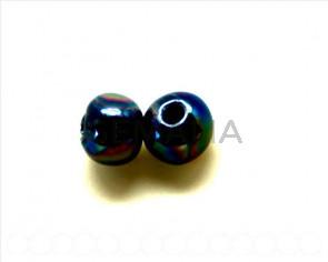 Ceramica. Bola 12mm. azul oscuro metalizado. Int.3mm aprox.