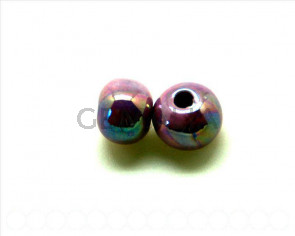 Ceramica. Bola 12mm. lila metalizado. Int.2mm aprox.