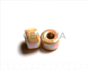 Ceramica. Rondel 12mm. marron claro. Int.6,2mm aprox.