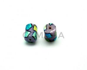 Ceramica. Barril. 18,5x14mm. Lila. Int.2mm aprox.