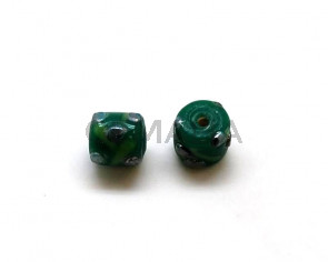 Cristal murano.Barril.11mm.Verde.Int.2mm aprox.