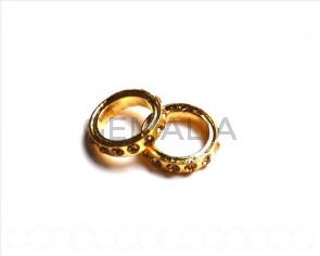 Metalico. Rhinestone 19x19x4mm. light colorado topaz-dorado.Int.13mm