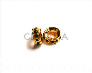 Cuentas metalicas. Rhinestone 15x15x6mmdorado-emerald.Int.8mm aprox.