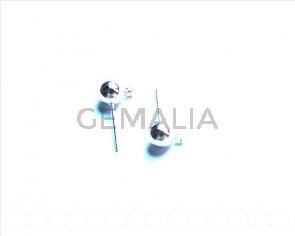 Cuentas Metalicas. Accesorio Pendiente Bola 6mm. Plateado