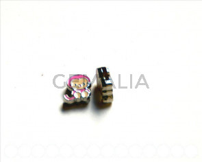 Cuentas Metalicas.  Mono 12x12x4mm. rosa. Int.8x1,5mm