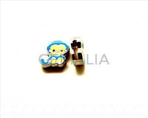 Cuentas Metalicas.  Mono 12x12x4mm. azul. Int.8x1,5mm