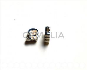 Cuentas Metalicas. Mono 12x12x4mm. negro. Int.8x1,5mm