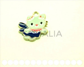 Cuentas metalicas. Colgante Hello Kitty 25x23x2mm. Int.2mm aprox.