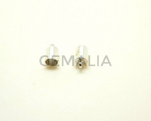 Cuentas metalicas. Terminal. 10x6mm. Plateado. Int.5,2mm