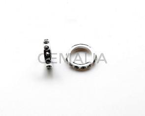 Metal/Rhinestone. Rondel. 19x19x4mm. Plateado-Jet Hematite. Int.13mm