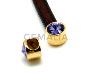 Terminal Zamak/SWAROVSKI regaliz. Moneda. Oro-Tanzanite. Int.10x6mm