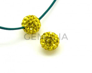 Rhinestone.Bola.10mm.Amarillo limon.Int.2mm.aprox.