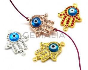 Metal/Rhinestone.Mano de fatima.27x38x5mm.MIX.Int.2.5mm.aprox.