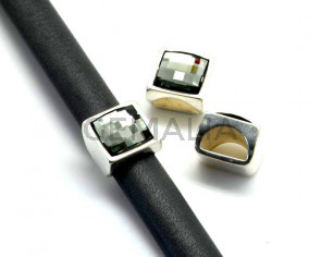 Zamak/SWAROVSKI.Cuad.13mm.Media caña.Plateado-black diamond.Int.10x5mm