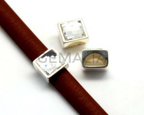Entrepieza Zamak/SWAROVSKI Cuadrado. 13mm. Media caña. Plateado-Cristal. Int.10x5mm