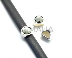 Entrepieza Moneda Zamak/SWAROVSKI. 13mm. Media caña. Plateado-Black Diamond. Int.10x5mm