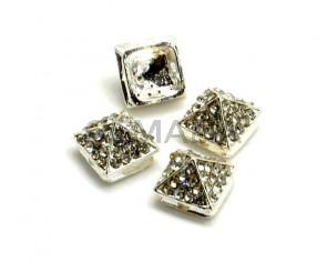 Rhinestone.Piramide.11x11x8mm.Plateado-cristal.Int.2mm aprox.