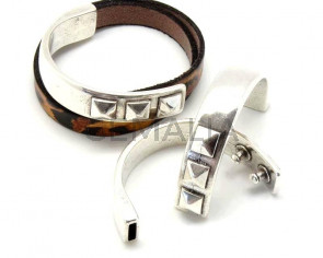 Media pulsera Zamak. 58x13mm. Plateado. Int.10x2,8mm