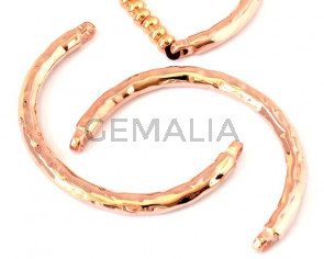 Media pulsera Zamak. Dos argollas. 65mm. Oro rosa. Int.3,5mm