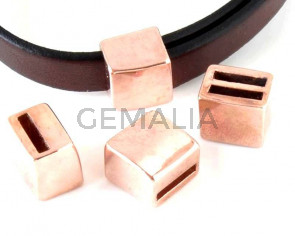 Pasador Zamak. 11,5x12x9,5mm. Oro rosa. Int.10x2mm