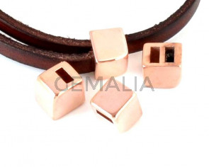 Pasador Zamak. 7,5x6,5x9mm. Oro rosa. Int.5x2mm