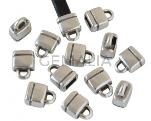 Zamak. Terminal. 10x8mm. Plateado. Int.5x2,5mm